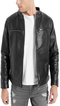 GUESS Men's Hooded Faux Leather Jacket