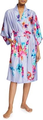 Natori Peonia Floral Printed Satin Robe