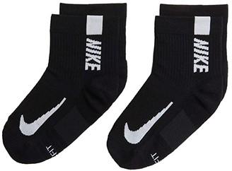 Nike Multiplier Running Ankle Socks 2-Pair Pack (Black/White) Low Cut Socks Shoes