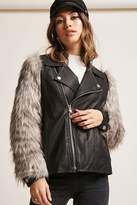 Forever 21 Goldie London Faux Fur Moto Jacket
