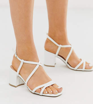 New Look Wide Fit wide fit strap up block heel in white