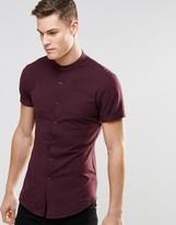 Asos Skinny Jersey Shirt With Grandad Collar