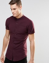 Asos Skinny Shirt In Burgundy Jersey With Grandad Collar And Short Sleeves