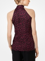 Michael Kors Fringed Cheetah Satin Jacquard Sleeveless Blouse