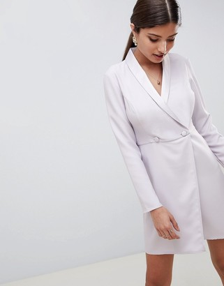 ASOS DESIGN button front blazer mini dress with long sleeves