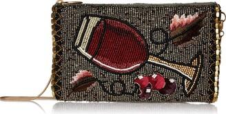 Mary Frances Vino Beaded-Embroidered Wine Glass Crossbody Phone Bag
