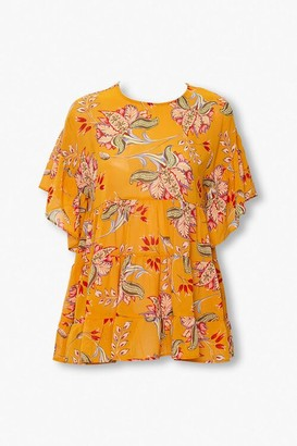 Forever 21 Tiered Floral Print Top