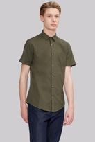 Moss Bros Extra Slim Fit Khaki Linen Short Sleeve Casual Shirt