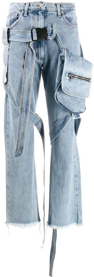 Natasha Zinko strap-embellished utility jeans