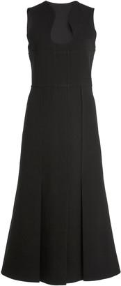 Victoria Beckham Bonded Crepe Midi Pocket Dress