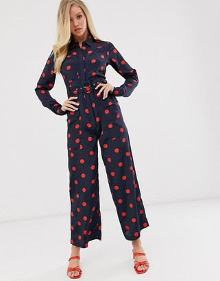 Neon Rose utility jumpsuit in spot print-Navy