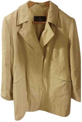 Fendi Beige Wool Coat for Women Vintage