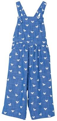 Hatley Butterfly Kaleidoscope Chambray Romper (Toddler/Little Kids/Big Kids) (Blue) Girl's Jumpsuit & Rompers One Piece