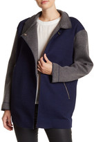 English Factory Colorblock Stand Collar Faux Leather Trim Jacket