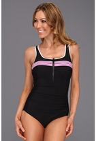Miraclesuit Stars in Stripes Spritzer One-Piece (Pink) - Apparel