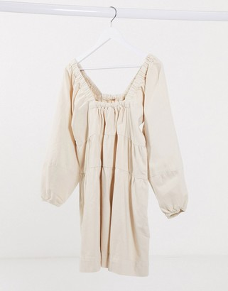 Free People Blue Jeans volume sleeve dress in white