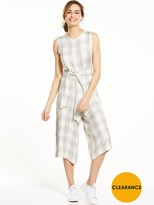 NATIVE YOUTH Tie Waist Gingham Culotte Jumpsuit