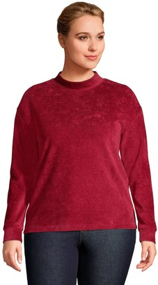 Lands' End Plus Size Sport Mockneck Velour Sweatshirt