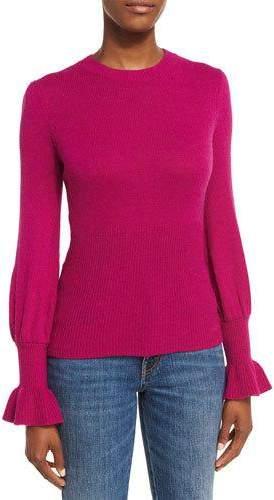 Co Ribbed Ruffle-Cuff Sweater