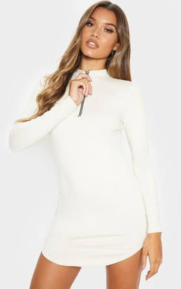 No Name Noname Ecru Zip Front Long Sleeve Curved Hem Bodycon Dress