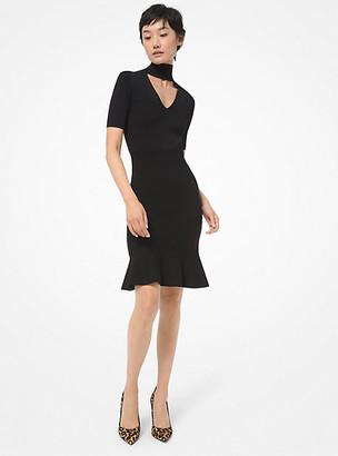 MICHAEL Michael Kors MK Cutout Stretch Viscose Dress - Black - Michael Kors