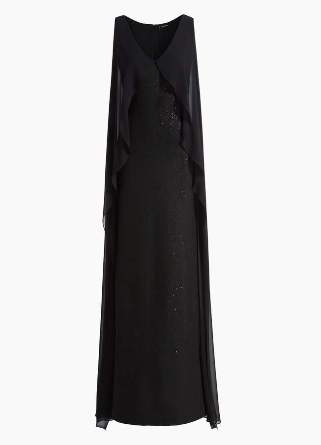 St. John Sculpted Tuck Knit V-Neck Gown