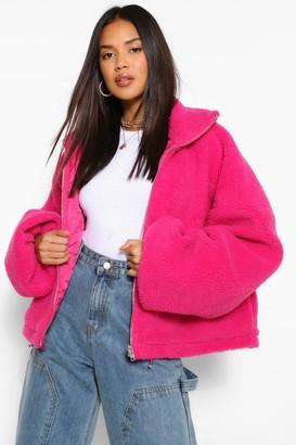 boohoo Crop Teddy Faux Fur Bomber Jacket