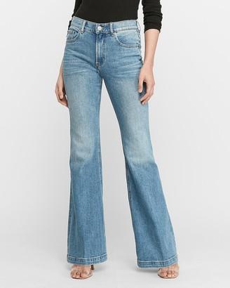 Express High Waisted Frayed Hem Bell Flare Jeans