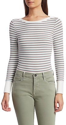 Frame Cropped Striped Knit Top