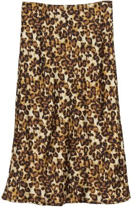 Forgotten Grace Printed Pull-On Satin Midi Skirt