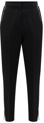 Burberry Draped-chain Virgin-wool Tailored Trousers - Womens - Black