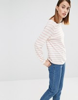Selected Nive Stripe Knitted Sweater in Pink