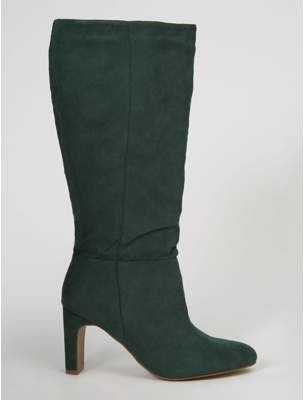 George Dark Green Suede Effect Blade Heel Knee Boots