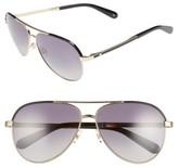 Kate Spade Women's Amarissa 59Mm Polarized Aviator Sunglasses - Gold/ Black