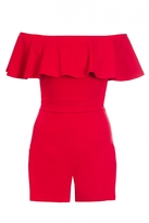 Quiz Red Crepe Frill Bardot Playsuit