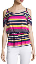 Laundry by Shelli Segal Striped Cold-Shoulder Top, Multicolor