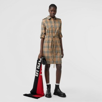 Burberry Vintage Check Stretch Cotton Drawcord Shirt Dress