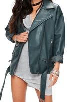 Missguided Women's Faux Leather Biker Jacket