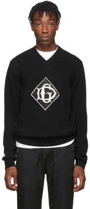 Dolce & Gabbana Black Wool V-Neck Sweater