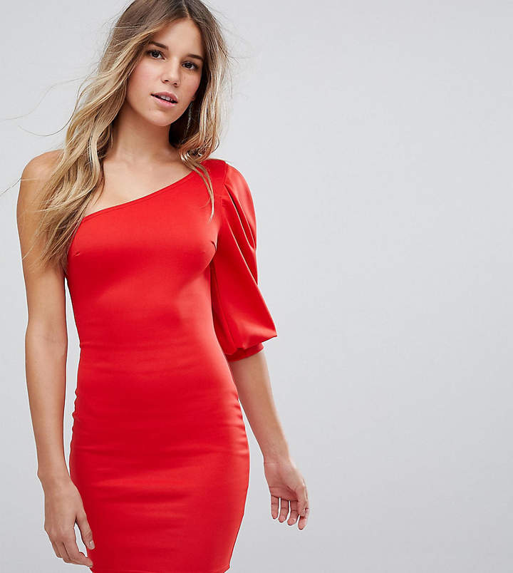 boohoo One Shoulder Puff Sleeve Bodycon Dress