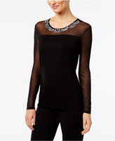 INC International Concepts Petite Embellished Illusion Top, Only at Macy's