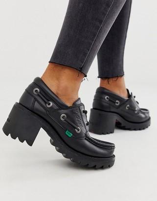 Kickers Klio lace black leather low heel shoes