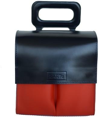 Natural Leather Handbag Fennel - Dark Blue Orange Pockets