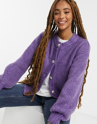 Monki Majli cardigan with embellished buttons in purple