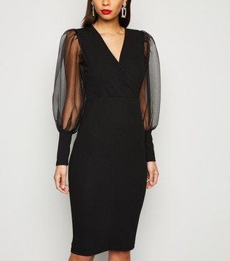 New Look AX Paris Organza Puff Sleeve Midi Dress