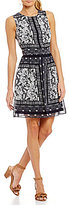 Vince Camuto Paisley Border Fit & Flare Dress
