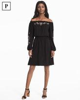 White House Black Market Petite Off-the-Shoulder Embroidered Black Blouson Dress
