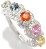 colorzNshades 2 CT TW Multi-Colored Sapphire Sterling Silver Ring with Zircon Accents
