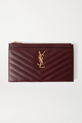 Saint Laurent Monogramme Quilted Textured-leather Pouch - Burgundy