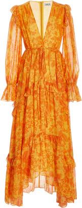 AMUR Allegra Ruffled Chiffon Maxi Dress